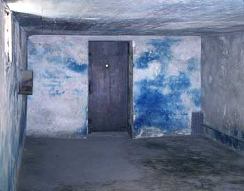 Blue stains from Zyklon B on the walls of the bathing and disinfection facility I, at the Majdanek State Museum