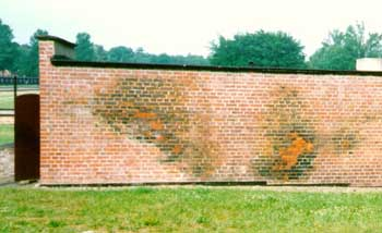 Blue stains from Zyklon B on outer wall of a delousing chamber at the former German concentration camp at Stutthof