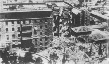 The King David Hotel in Jerusalem, in the aftermath of the Zionist terror bombing on July 22, 1946
