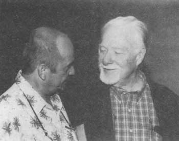 Walter Mueller, left, publisher of the northern California monthly 'Community News,' with Bradley Smith