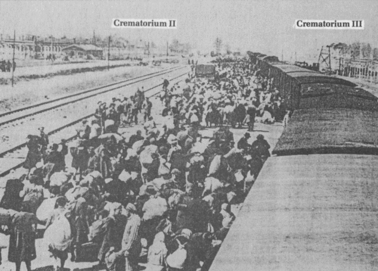 Arrival of a convoy at the Birkenau ramp