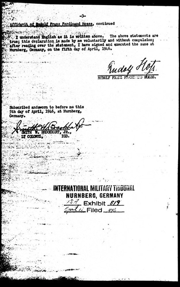 PS-3868: Rudolf Höß, signed affidavit of April 5, 1946, last page