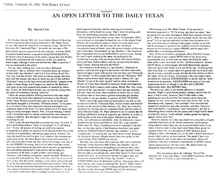 David Cole, OPEN LETTER TO THE DAILY TEXAN