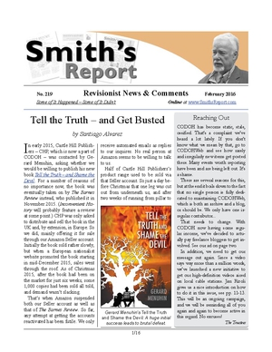 SMITH'S REPORT #219, February 2016, is now online